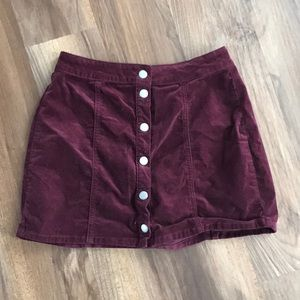 Burgundy velvet mini skirt!